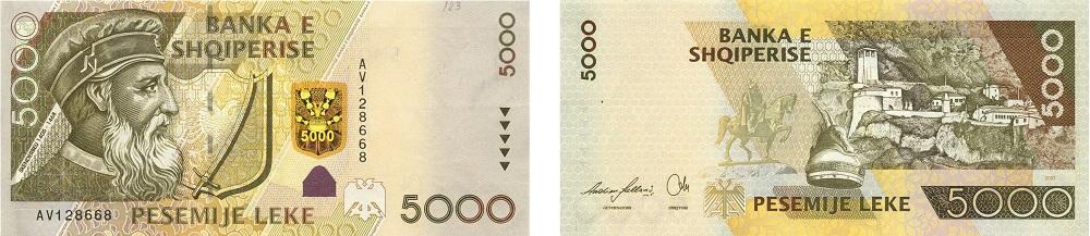 L'attuale banconota albanese da 5.000 lek dedicata a Skandenberg sarà tra le prime ad essere rinnovata e reimmessa in circolazione dal prossimo autunno