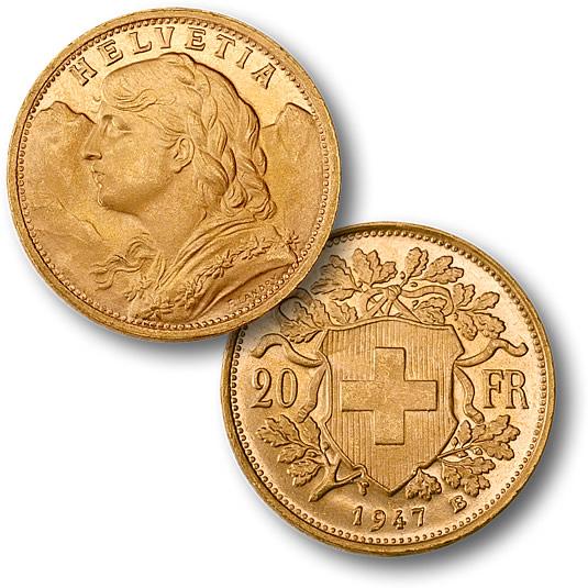 I 20 franchi oro, il celebre marengo svizzero che è una delle bullion coin più conosciute e apprezzate nel mondo