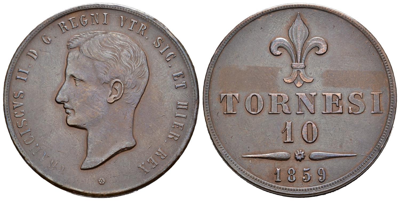 Bell'esemplare dei 10 tornesi in puro rame coniati a Napoli nel 1859 con matrici incise da Luigi Arnaud