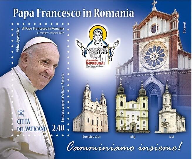 Soggetti simili alla moneta (effigie del pontefice e le chiese vistate da Bergoglio) per il foglietto congiunto Vaticano-Romania
