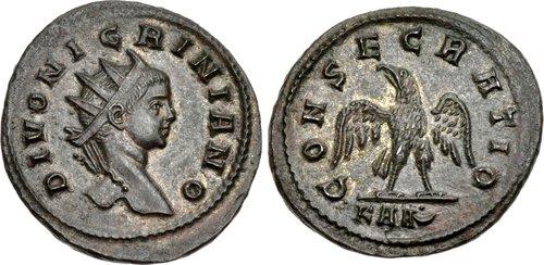 Il divo Nigriniano su un antoniniano a suo nome: qui il ritratto porta la corona radiata, come d'uso su questo tipo di moneta