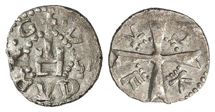 Rarissimo aspro in argento per Caffa, ex colonia genovese passata nel 1453 al Banco di San Giorgio (Ag, g 1,11). Al dritto il castello genovese, al rovescio la croce maltese