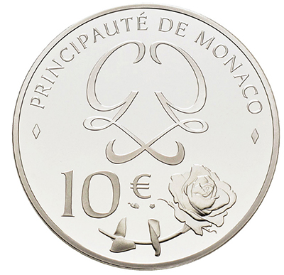 Il monogramma della principessa e una rosa, in perfetto stile monegasco, sul dritto della moneta