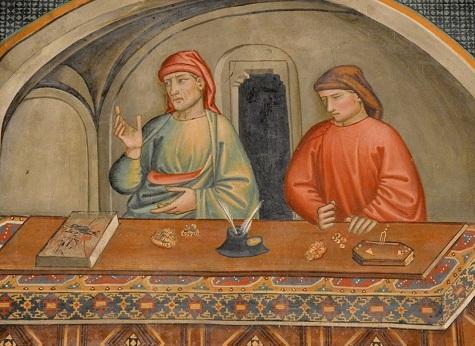 Banchieri toscani in un affresco della Chiesa di san Franacesco a Prato (1395): si notino il libro dei conti, le monete, la bilancia per verificarne la bontà
