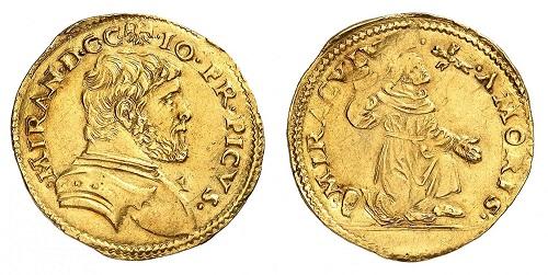 """Mirandola 1524: la frode dell'oro porta alla coniazione  di queste doppie dette """"alla corazza"""" con san Francesco raffigurato mentre riceve le Stimmate"""