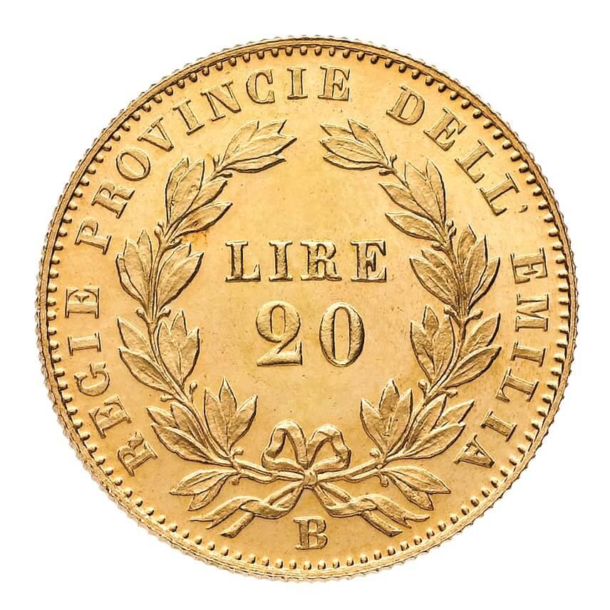 Il rovescio delle rarissime 20 lire 1860 delle Regie Provincie dell'Emilia