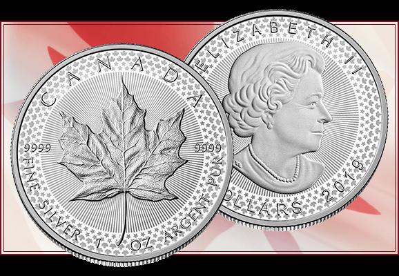 Una texture composta di foglie d'acero e stelle fa da contorno a questa speciale Maple Leaf canadese millesimata 2019, con sfondo a sottilissime linee radiali