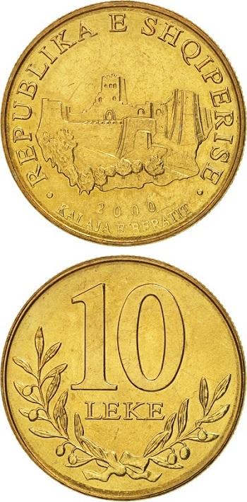 I 10 lek d'Albania nella versione attualmente in circolazione