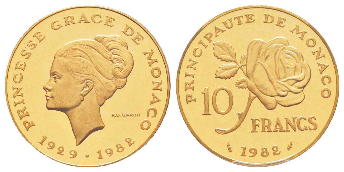"""Rarissimo esemplare """"piedfort"""" coniato in oro (g 38,8) dei 10 franchi monegaschi emessi nel 1982 a seguito della tragica morte di Grace Kelly"""