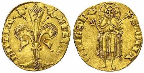 Fiorino d'oro di Firenze del periodo 1252-1303 (Au, g 3,52), con simbolo corno (maestro di zecca sconosciuto)