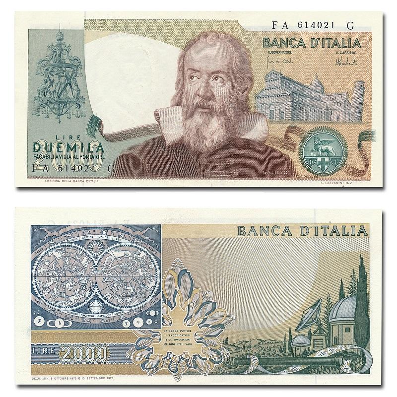 La banconota italiana dedicata a Galileo Galilei; con facciale di 2000 lire, venne stampata tra il 1973 e il 1983