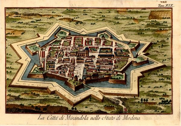 Una bella mappa acquerellata della città di Mirandola