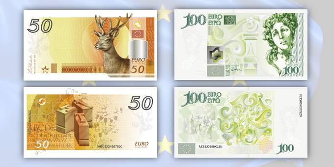 """A sinistra il progetto per i 50 euro in versione """"irlandese"""" e a destra quello per i 100 in """"salsa portoghese"""""""