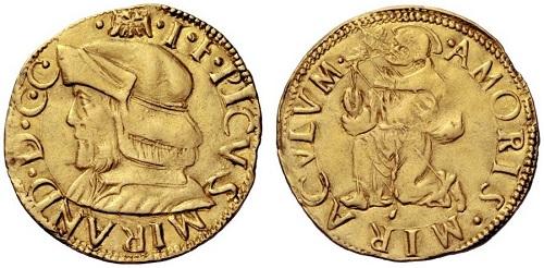 """Il secondo tipo di doppia mirandolese con san Francesco, quello detto """"al berrettone"""" per l'abbigliamento del Pico ritratto sul dritto"""