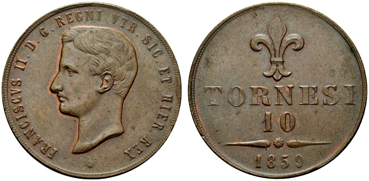 Esemplare del 10 tornesi coniato a Roma nel 1861, presso la zecca pontificia, con tondelli fatti venire dalla Francia