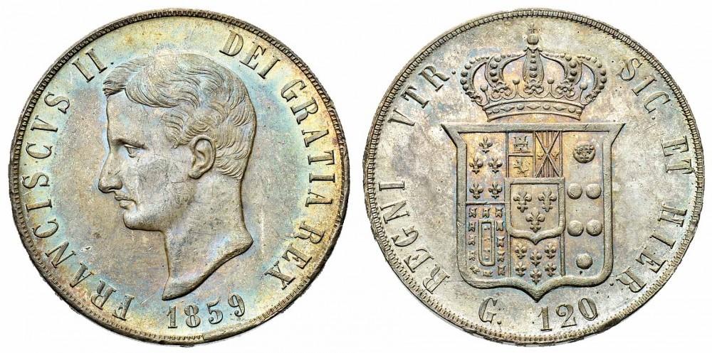 La piastra in argento da 120 grana fu il massimo nominale che Francesco II riuscì a battere durante la sua breve parentesi da sovrano a Napoli