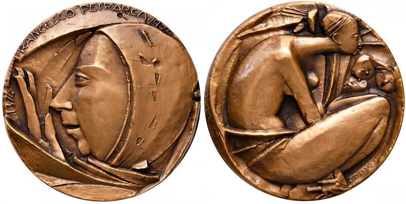Medaglia di Angelo Grilli del 1974 (Ae, mm 60) per il VI centenario petrarchesco