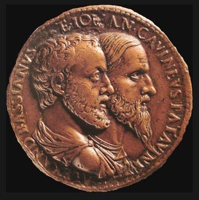 Giovanni da Cavino: autoritratto (a destra) con Alessandro da Bassiano su dritto di medaglia (bronzo fuso, mm 38)