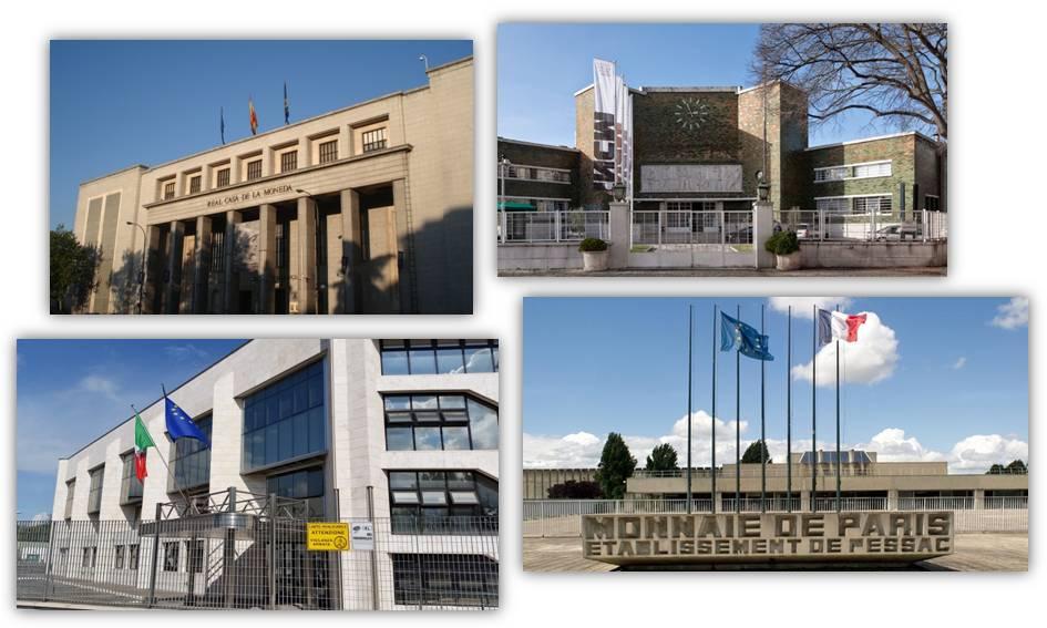 Quattro degli stabilimenti UE per la produzione di monete: dall'alto Madrid, Lisbona e, in basso, Roma e Pessac (Francia)