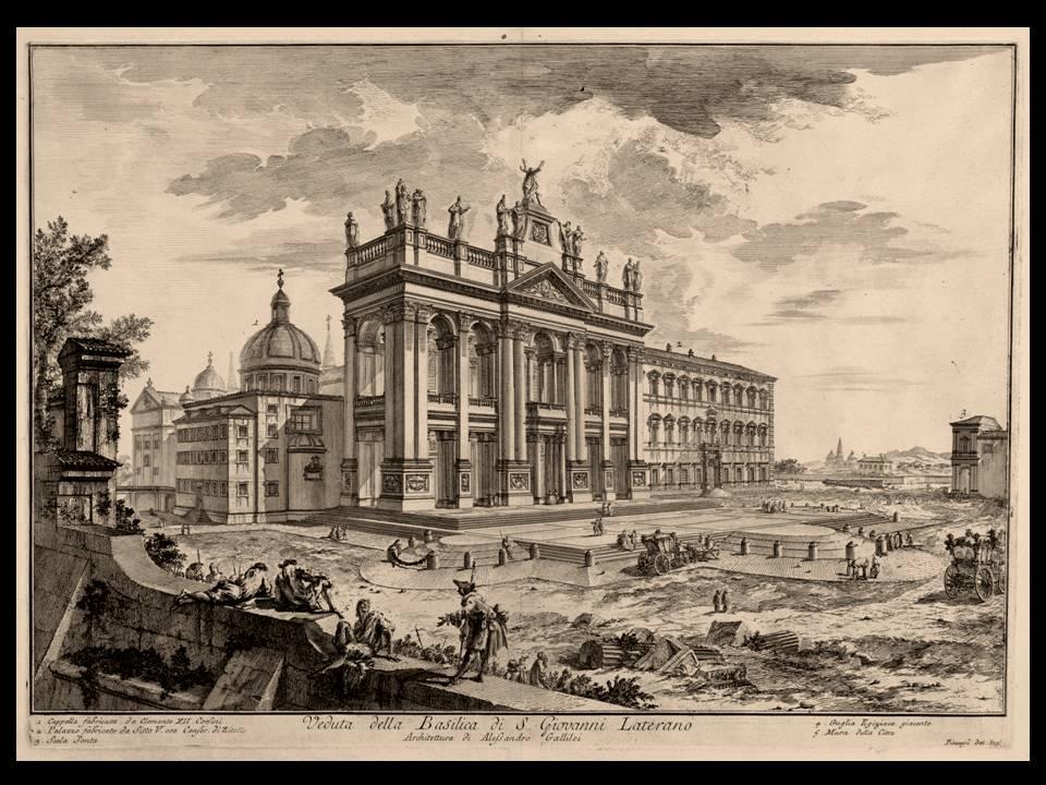 La Basilica di San Giovanni in Laterano, sede della Diocesi dell'Urbe e punto di arrivo della cavalcata solenne che portava il nuovo papa, da San Pietro, ad insediarsi come vescovo di Roma