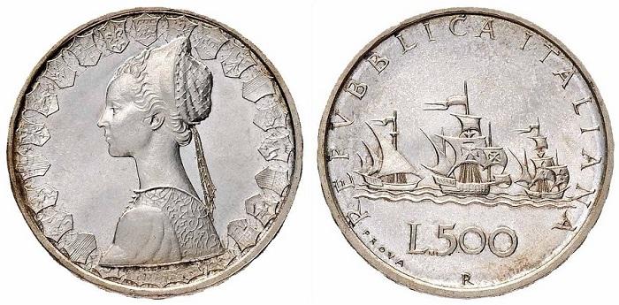 Donna Letizia, moglie del maestro Pietro Giampaoli, sulle 500 lire Caravelle (qui in versione prova)
