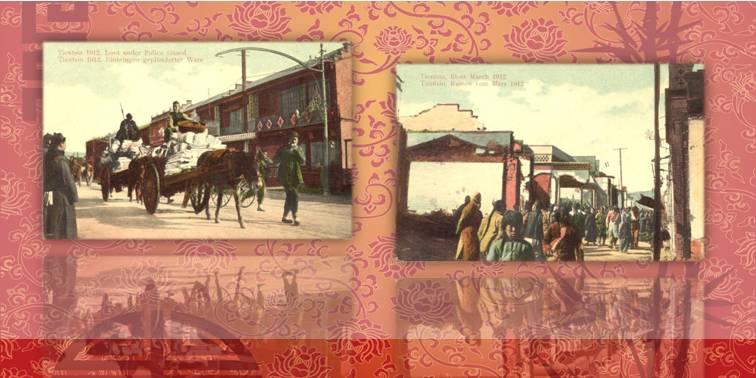 A sinistra, carri di mercanzia scortati dalla polizia a Tientsin e, a destra, l'insurrezione del 1912 in due rare cartoline dell'epoca
