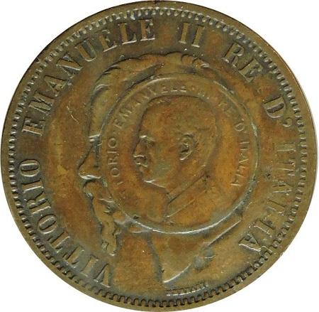 """""""La moneta dei tre re"""", il dritto: sul tondello dei 10 cent di Vittorio Emanuele II è stato inserito un cent del nipote, il """"re numismatico"""""""