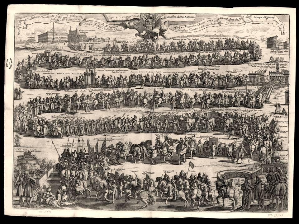 """Una bella incisione che mostra i dettagli del corteo che si snoda dal Vaticano al Laterano per il """"Possesso"""": una rigida gerarchia di ecclesiastici, aristocratici, notabili, diplomatici"""
