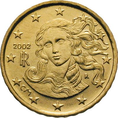 Simonetta come botticelliana Venere sui 10 euro centesimi d'Italia
