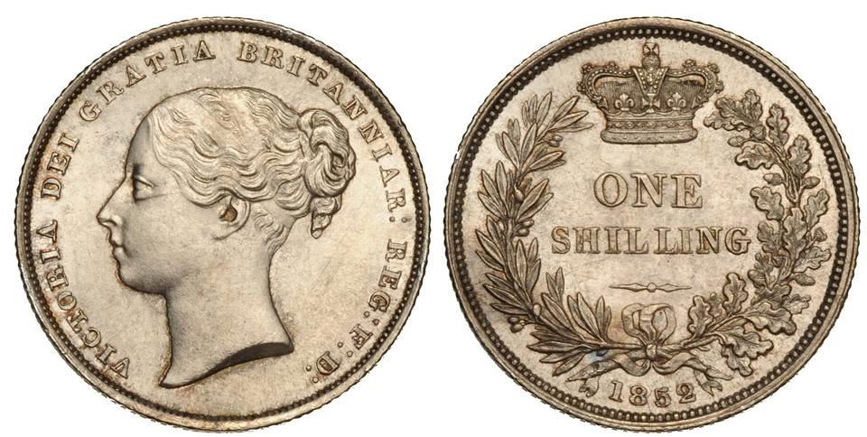 Uno scellino in argento con ritratto della regina Vittoria probabilmente coevo del gettone