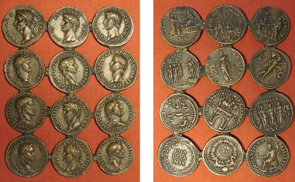 """I """"dodici cesari"""" di Giovanni Cavino (Inv 1636): matrice per fusioni con 12 """"sesterzi"""" uniti (mm 112 x 143). Si tratta di un """"kit"""" per fondere monete dei primi dodici imperatori di Roma citati da Svetonio. Le monete di Cesare ed Othone sono inventate, quelle di Augusto e Tiberio sono varianti non esistenti, le altre sono riproduzioni di sesterzi esistenti"""
