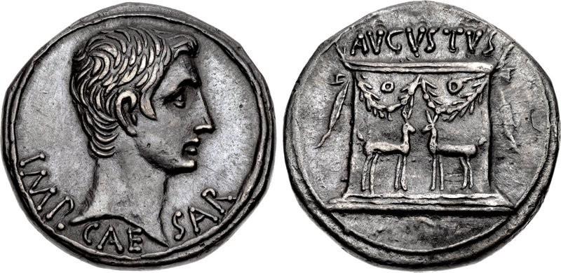Augusto: un magnifico cistoforo in argento col suo ritatto (mm 25, g 11,86, h 12h) coniato ad Efeso tra il 24 e il 20 a.C. Spettacolare il ritratto al dritto