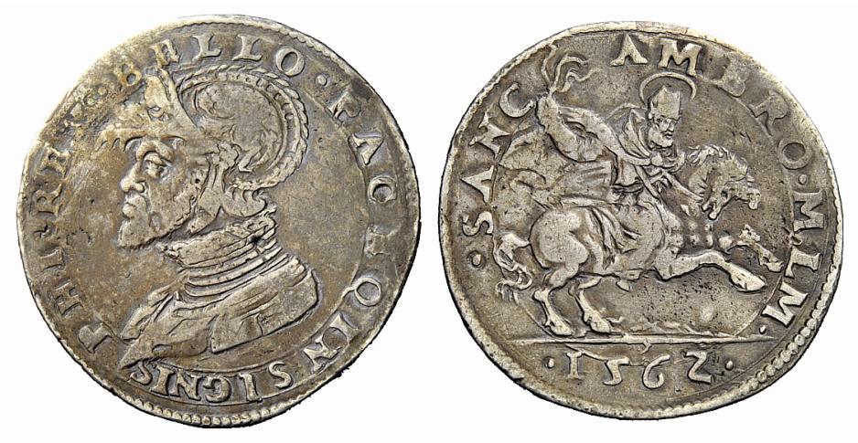 Sebbene non in elevata conservazione, questo mezzo scudo milanese del 1562 mantiene intatto il suo fascino