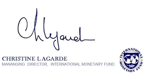 Specimen della firma di Christine Lagarde su un documento dell'IMF