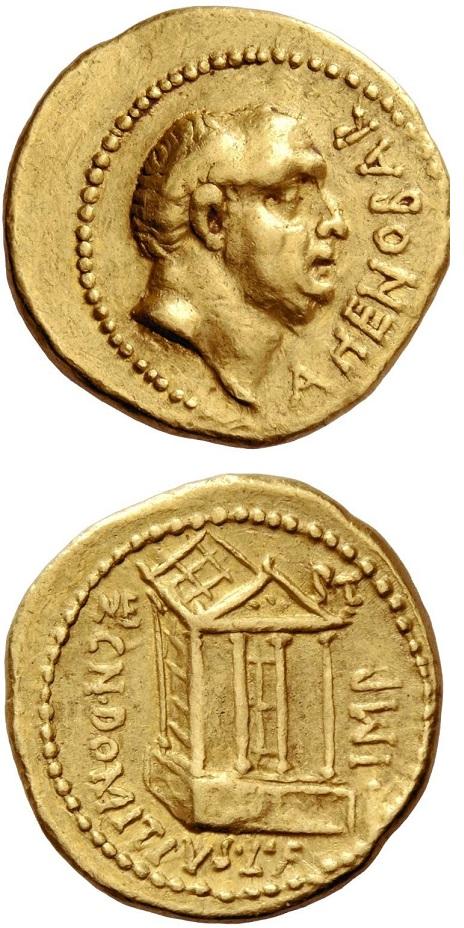 Uno dei rarissimi aurei a nome di Cn. Domizio Enobarbo con tempio al rovescio