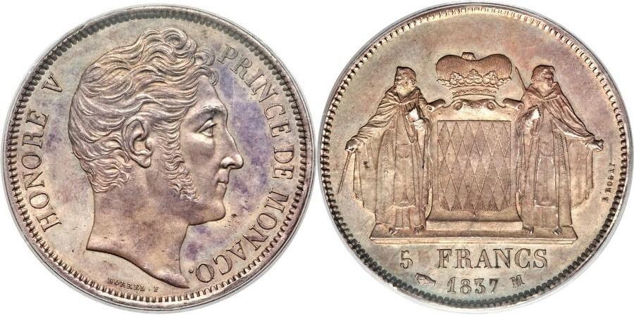Un magnifico esemplare di 5 franchi in argento del 1837 a nome del principe Honoré V Grimaldi