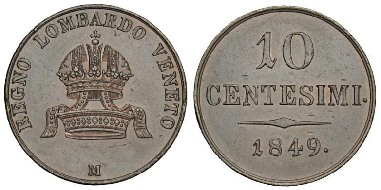 I 10 centesimi della zecca di Milano coniati l'anno dopo i moti insurrezionali del 1848