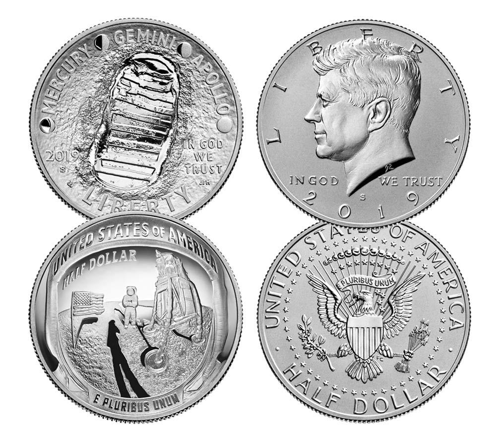 Il dittico formato dal mezzo dollaro JFK 2019 e da quello, speciale, emesso per il 50° del primo allunaggio umano
