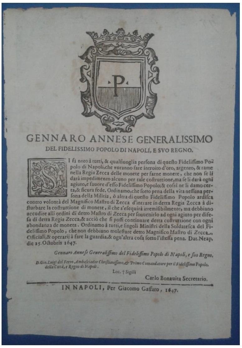 Bando del 25 ottobre 1647 a nome di Gennaro Annese per la raccolta di oro, argento e rame allo scopo di farne monete