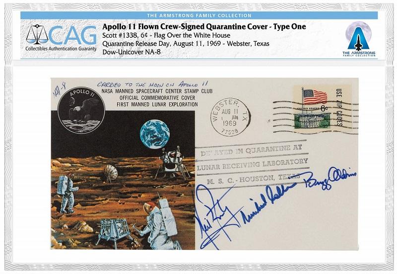 """Busta filatelica viaggiata sulla navicella """"Apollo 11"""" sino alla luna e firmata dai tre astronauti Armstrong, Aldrin e Collins"""