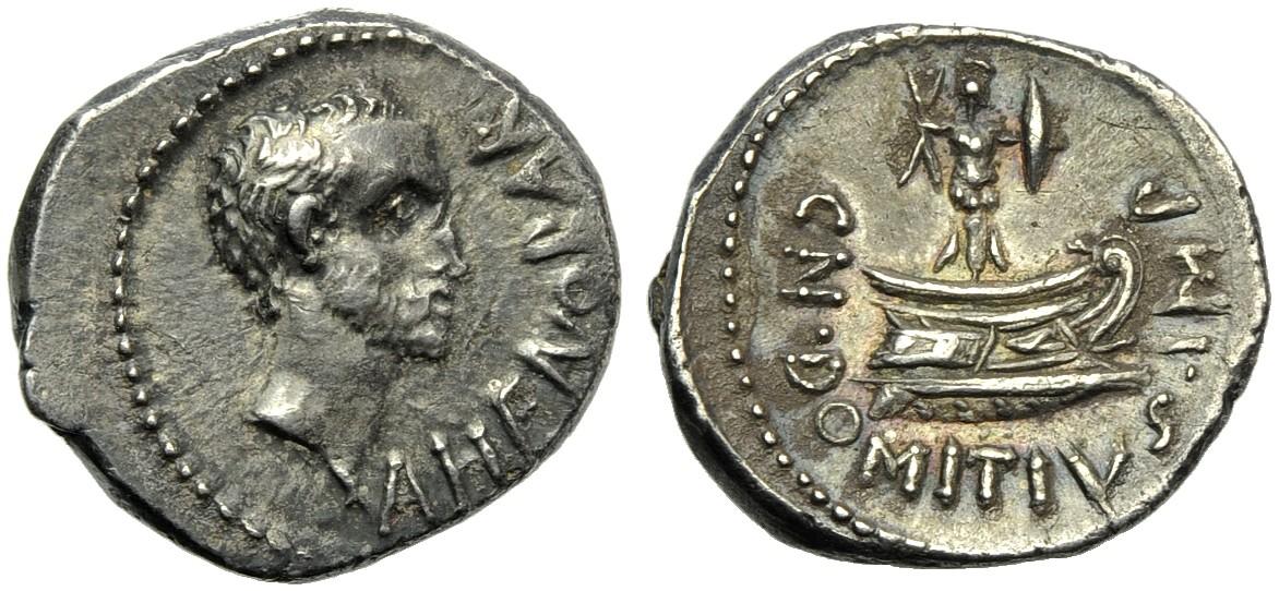 Cn. Domizio Enobarbo. 41-40 a.C. Denario in argento di zecca incerta di area adriatica o ionica. Al rovescio prora di nave con trofeo militare: il ritratto al dritto è visibilmente differente da quello dell'aureo