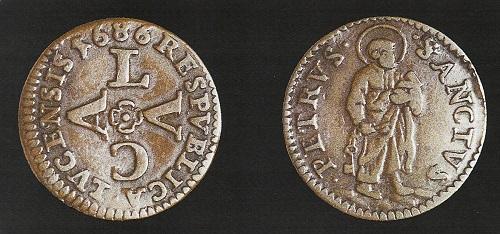 Lucca – Duetto del 1686 (Mi, g 1,18 mm 18, Cni 718)