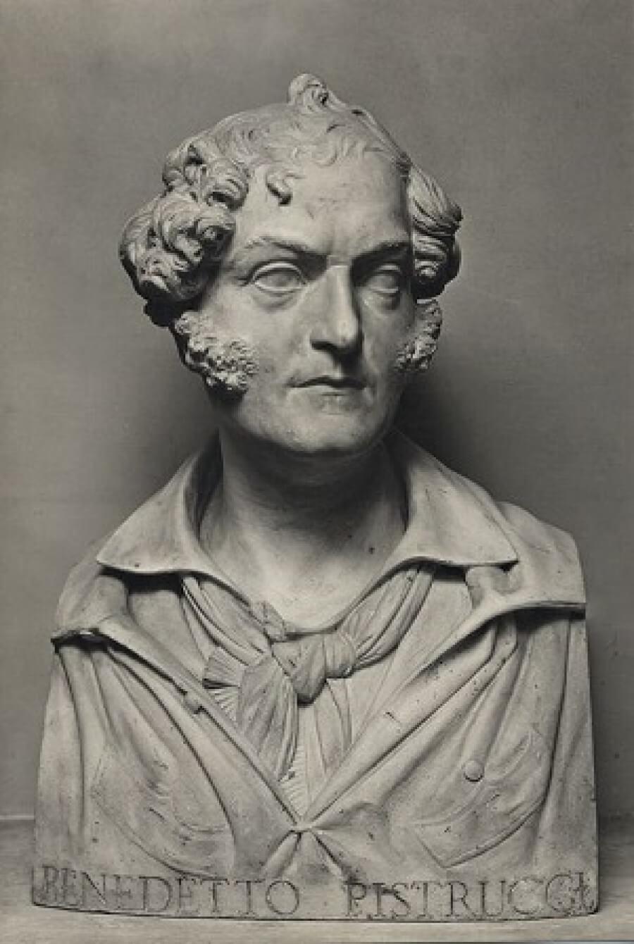 Busto di Benedetto Pistrucci, autore fra l'altro del san Giorgio che uccide il drago ancora oggi coniato sulle sovrane d'oro britanniche