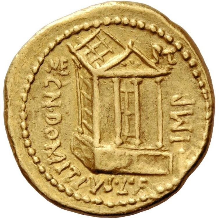 """Ingrandimento del Tempio di Nettuno al rovescio dell'aureo: secondo Hill, più un """"progetto"""" che un edificio reale della Roma repubblicana"""