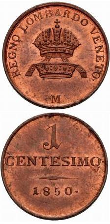 Un bell'esemplare rame rosso del centesimo 1850 con le due corone sovrapposte