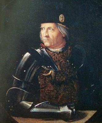 Ritratto di Ercole I d'Este, II duca di Ferrara, Modena e Reggio. Il duca indossa armatura e berretto con medaglia, come nella moneta