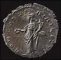 L'antoniniano a nome di Domitianus rinvenuto nel 2003 nell'Oxfordshire (mistura, 20 mm circa). Al R/, la Concordia con patera nella destra e cornucopia nella sinistra, circondata dall'iscrizione CONCORDIA MILITVM