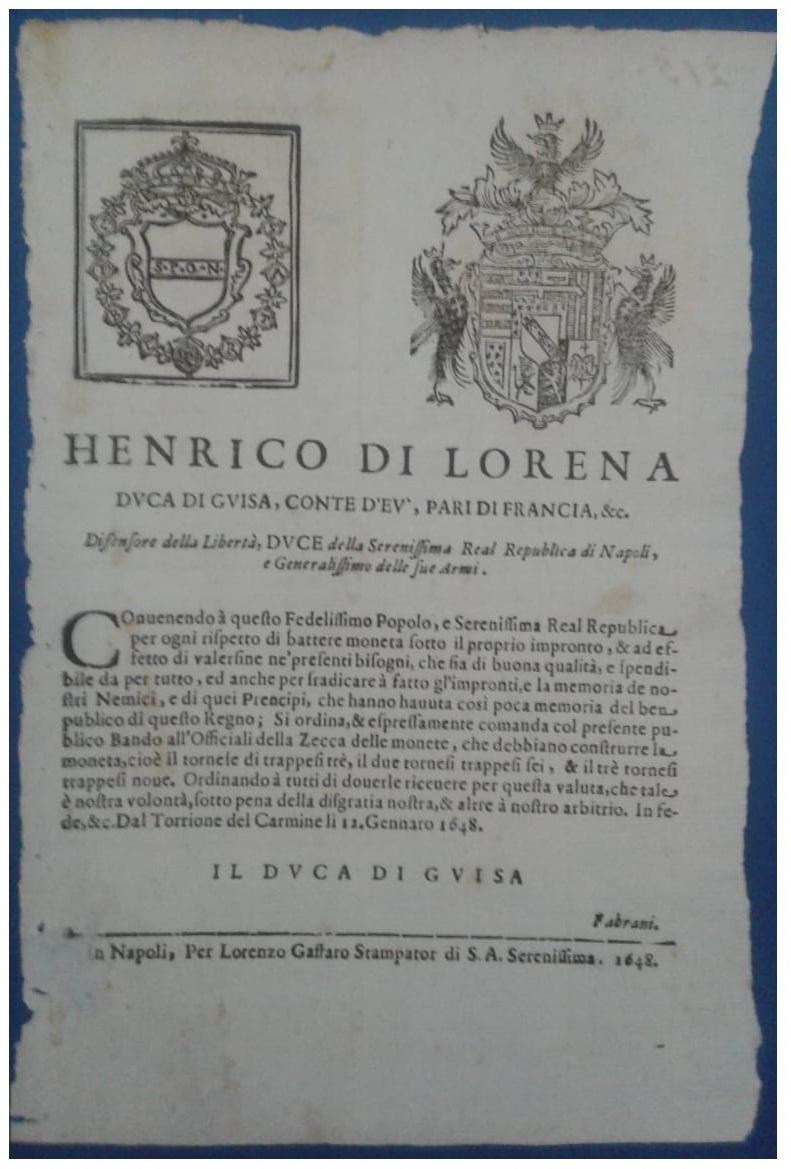 Bando del 12 gennaio 1648 a nome di Enrico di Lorena per la coniazoone delle monete in rame: il tornese, il grano e la pubblica