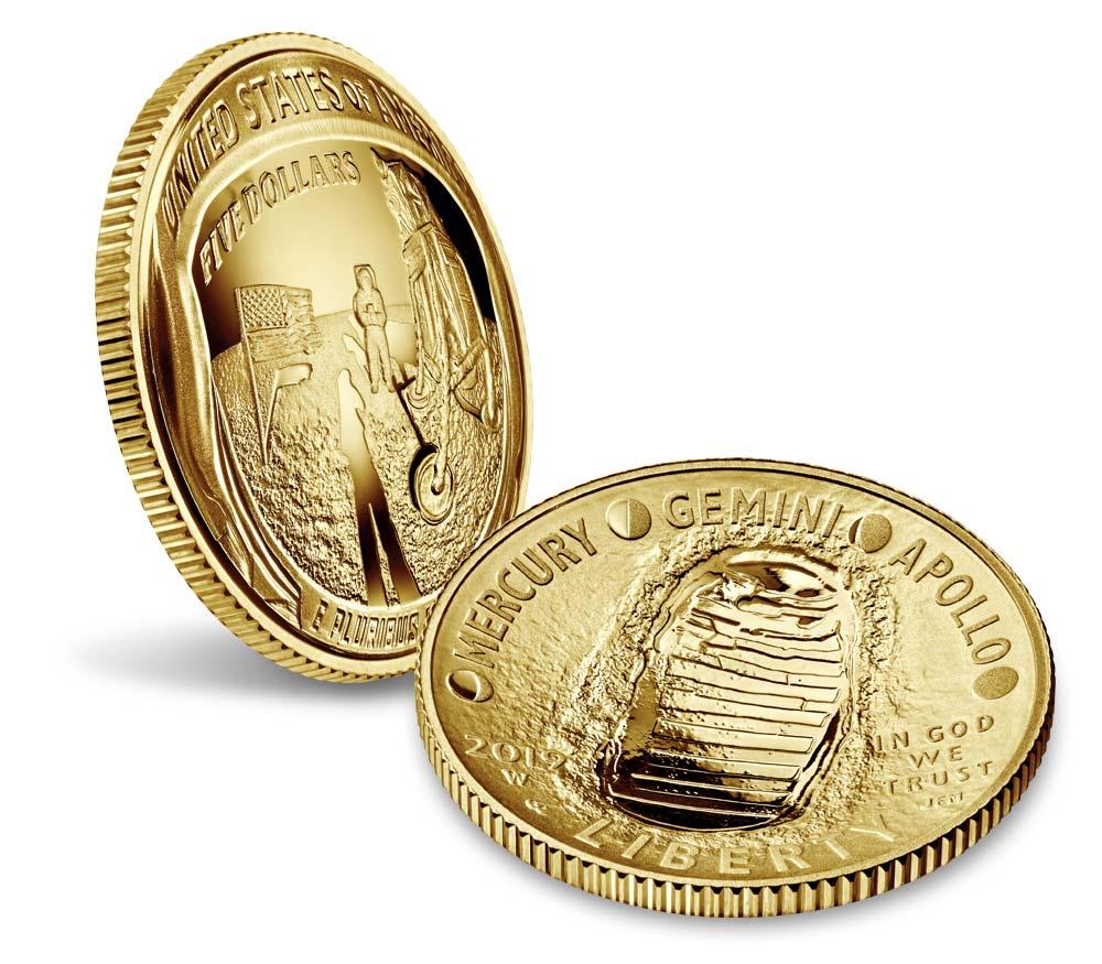 """""""The Eagle has landed"""": ecco i 5 dollari in oro proof degli USA per i 50 anni dalla missione """"Apollo 11"""""""