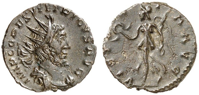Antoniniano a nome di Tetrico I (mistura, mm 20). Al D/ busto dell'imperatore con leggenda IMP C(aesar) TETRICVS P(ius) F(elix) AVG(ustus). Al R/ una Vittoria con corona nella destra e ramo di palma nella sinistra, con leggenda VICTORIA AVG(usti)